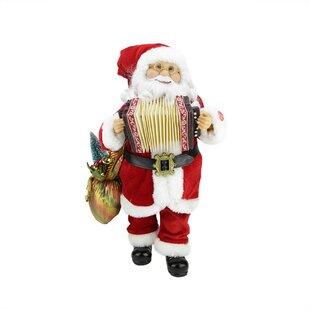musical standing santa claus christmas figure with accordion - Animated Christmas Figures