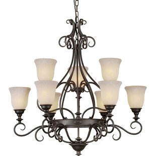 Fleur De Lis Living Bowe 9-Light Shaded Chandelier