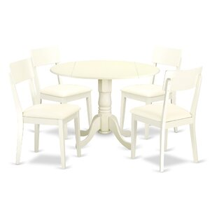 Spruill 5 Piece Drop Leaf Breakfast Nook Solid Wood Dining Set