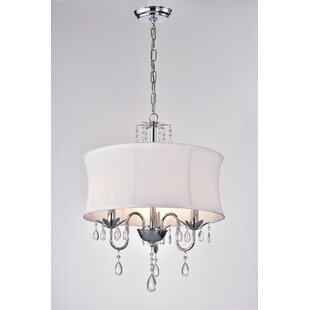 Leandra Fabric Crystal 3-Light Drum Chandelier