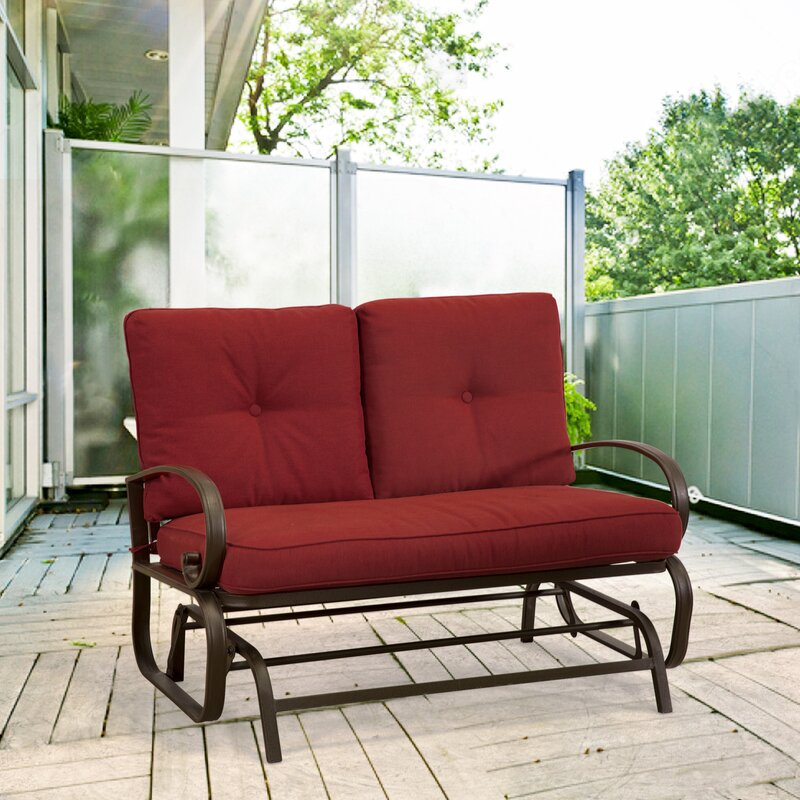Red Barrel Studio Weatherholt 2 Person Outdoor Glider Bench with ...