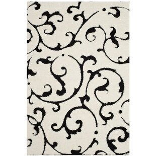 Price comparison Tess Ivory/Black Area Rug By Winston Porter