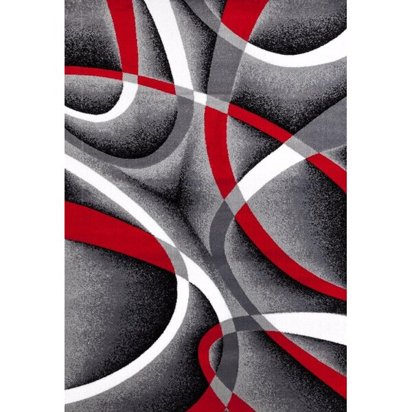 Orren Ellis Cherine Modern Gray Red White Area Rug
