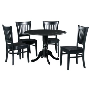 Shorewood 5 Piece Drop Leaf Solid Wood Dining Set in Black and White