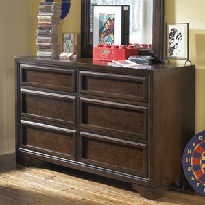 Jamey Wood Framed 6 Drawer Double Dresser with Mirror by Harriet Bee