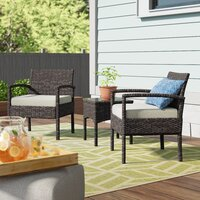 Wrought Studio Blairs 3 Piece Seating Group with Cushions