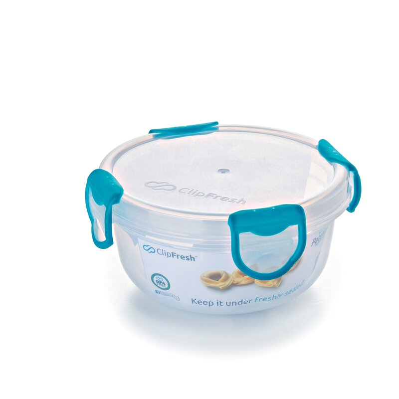 ClipFresh Round 16 Oz. Food Storage Container  Color: Teal blue