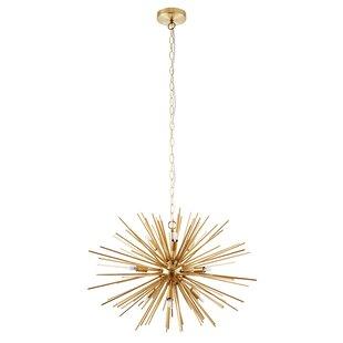 Modern Sputnik Chandelier Lighting 10 Lights Brushed Brass Semi Flush Mount Ceiling Light Gold Mid Century Pendant Lighting by BONLICHT