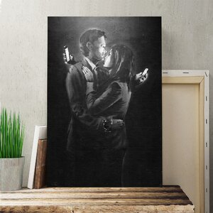 Banksy Mobile Lovers Black and White Wall Graffiti Graphic Art on Canvas