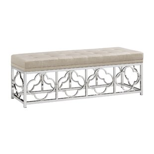 Hayes Chrome Quatrefoil Metal Bench by Rosdorf Park