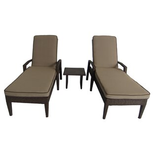 Brayden Studio Luciano 3 Piece Chaise Lounge Set with Cushions