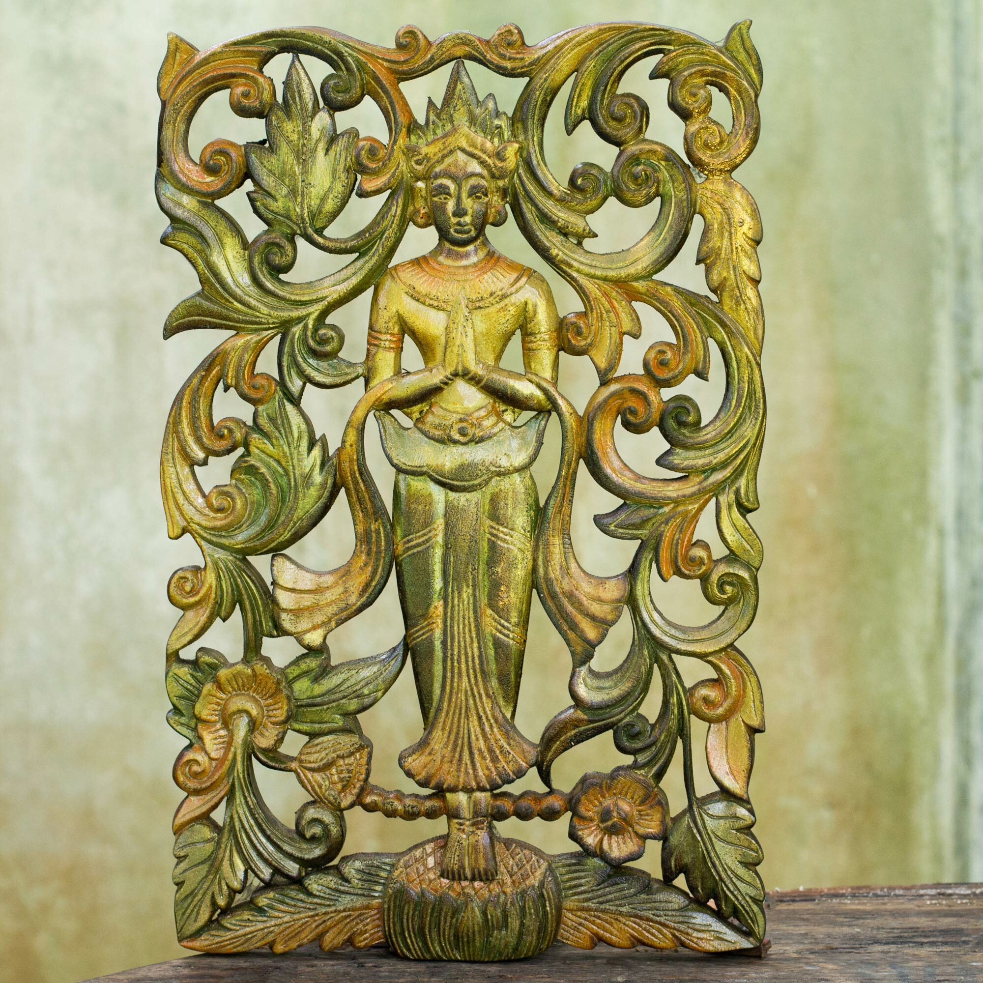 Novica Buddhist Angel Antiqued Teak Wood Panel Wall Décor | Wayfair