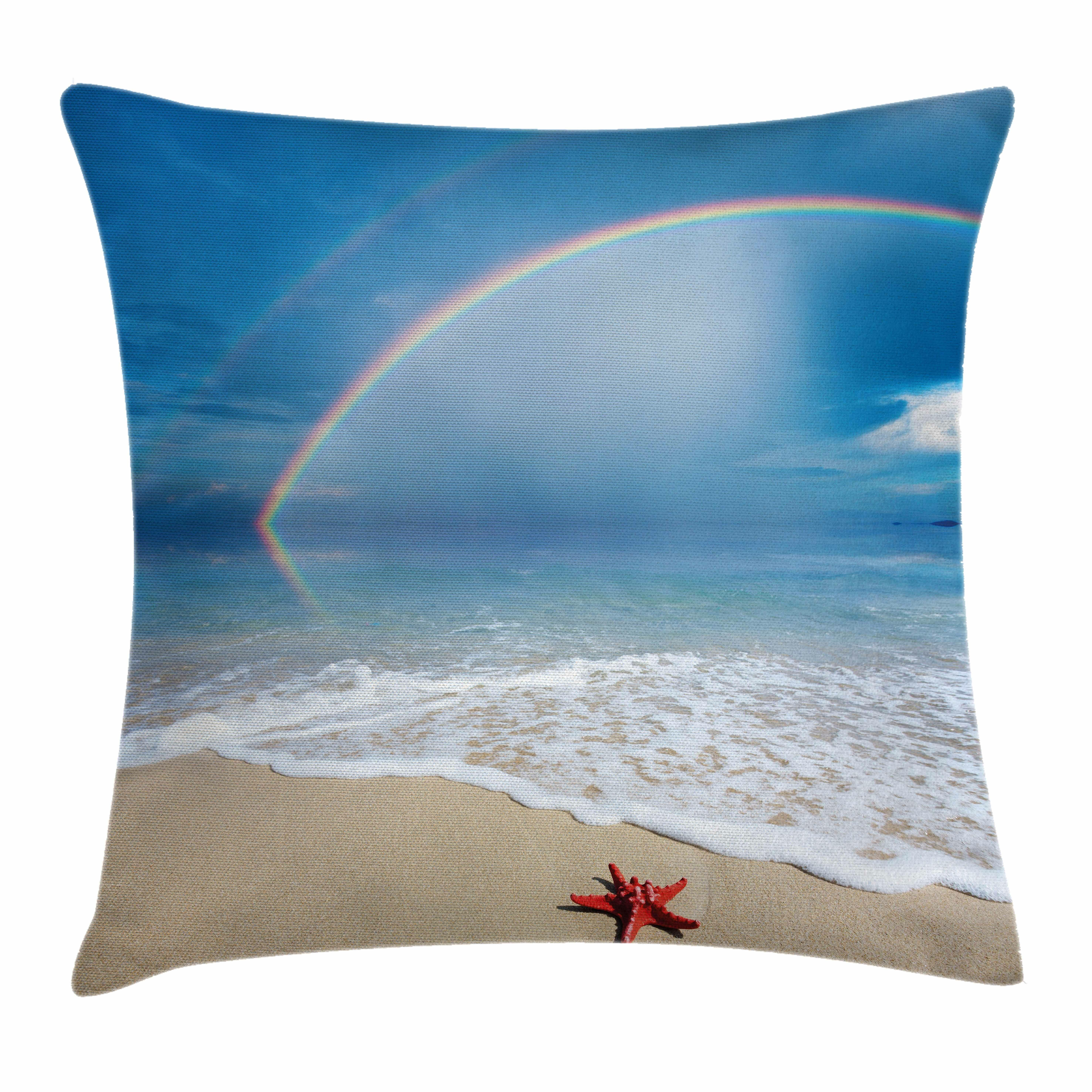 d7c4e804a151 East Urban Home Starfish Decor Rainbow Ocean Square Pillow Cover ...