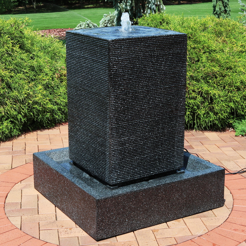 Orren ellis skaggs resin pillar outdoor water fountain with led light reviews wayfair