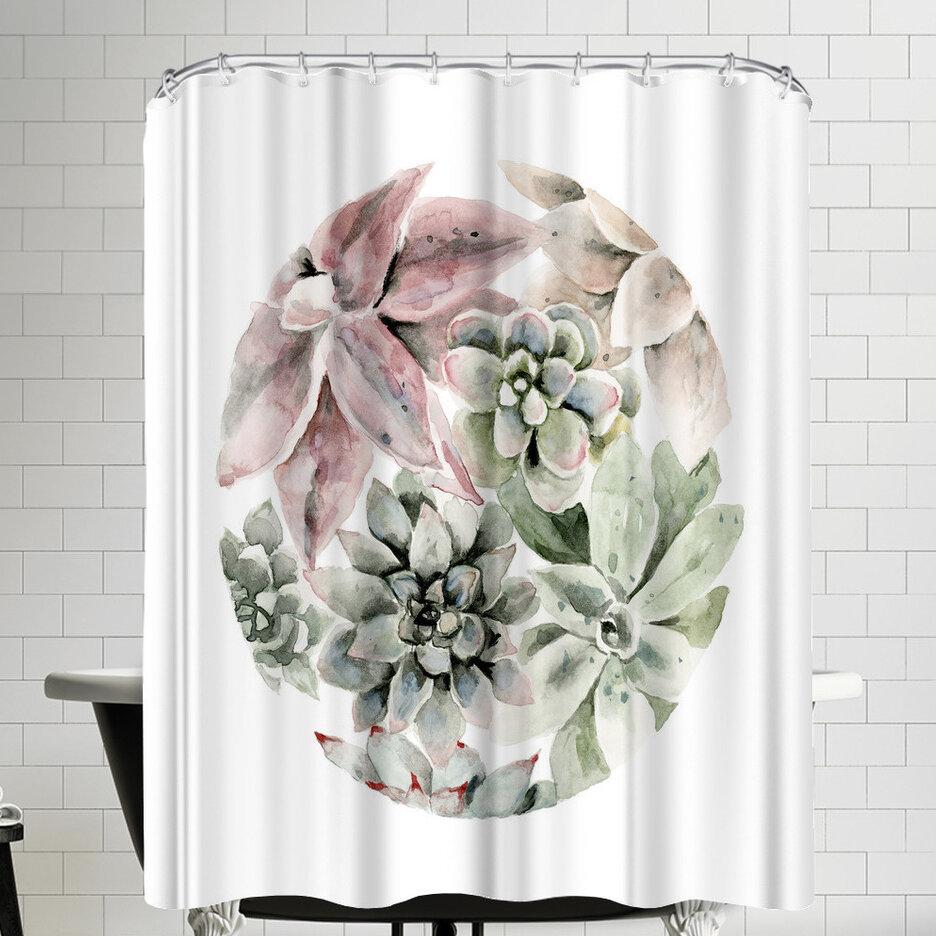 East Urban Home Circular Succulents Shower Curtain