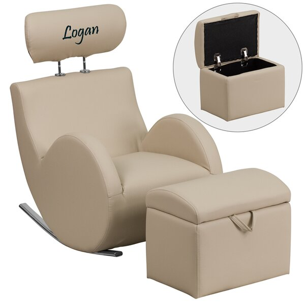 Flash Furniture Hercules Series Personalized Kids Rocking Chair And Ottoman  With Storage Compartment | Wayfair