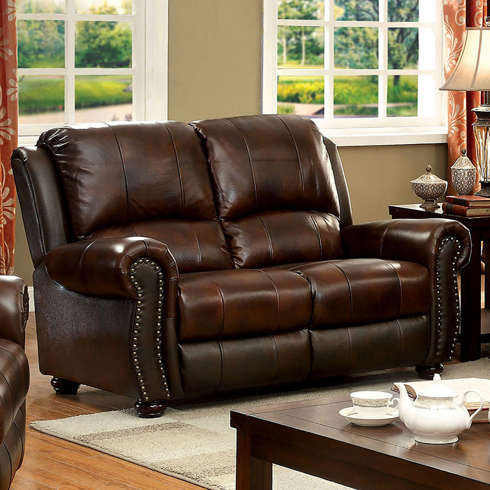 Darby Home Co Gonsales Leather Match 60 25 Wide Rolled Arm Loveseat Wayfair