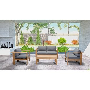 Felicia4 Piece Teak Sofa Seating Group with Sunbrella Cushions by Union Rustic
