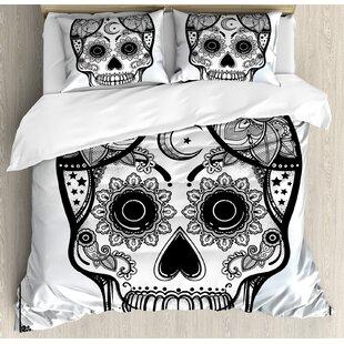 East Urban Home Sugar Skull Vintage Style Hispanic Folk Spiritual Art All Saints Holiday Mascot Duvet Set