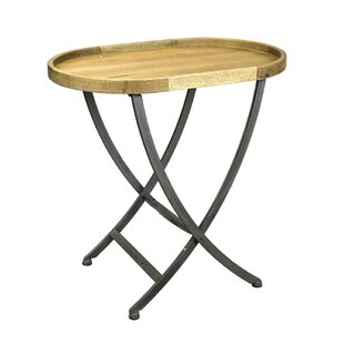 Price Check Pangkal Pinang Oval Shape Wood & Metal End Table with Cross Legs by Loon Peak