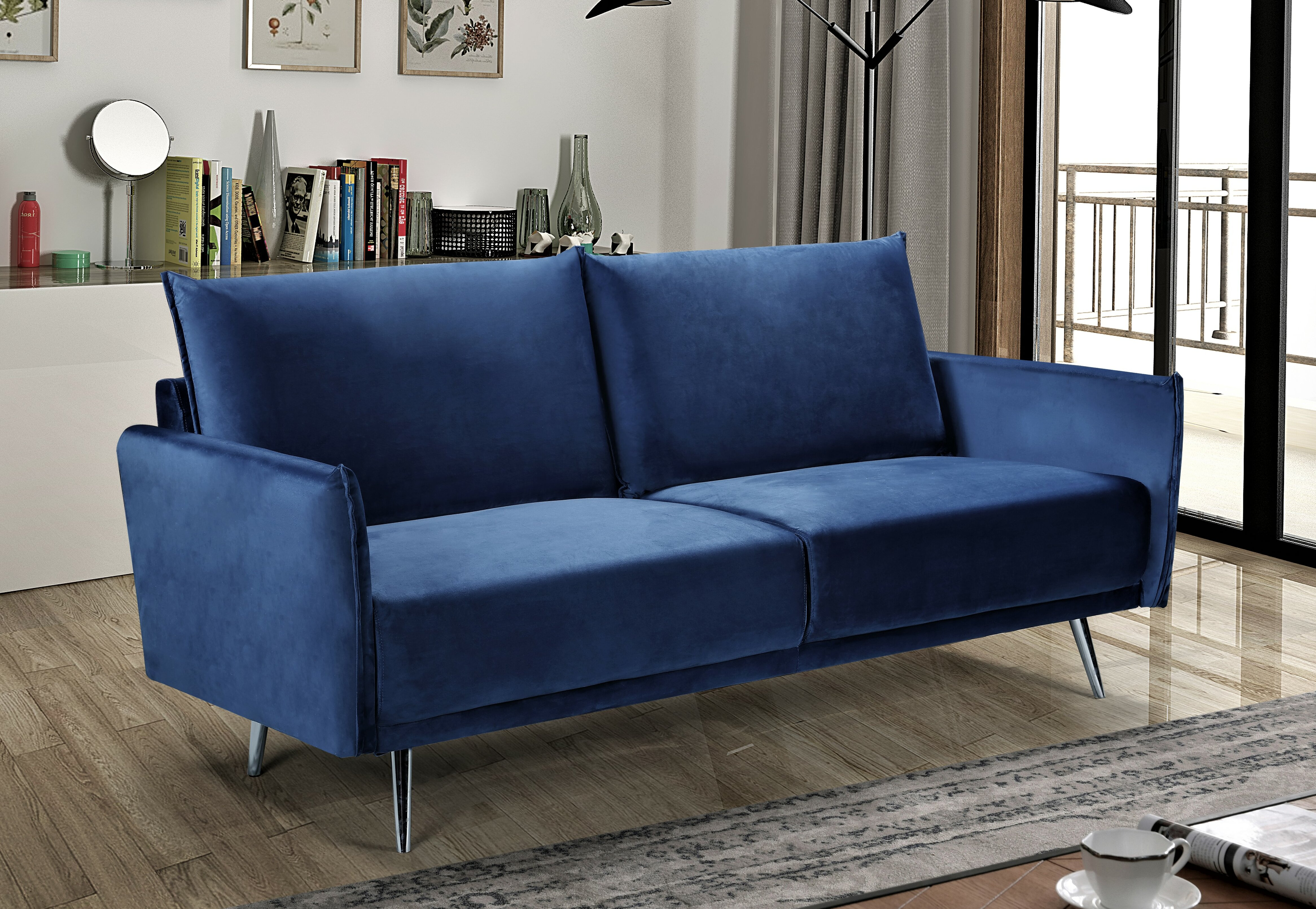 Mercer41 Seychella Velvet 72 83 Wide Square Arm Sofa Reviews Wayfair