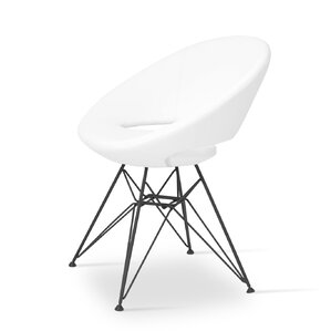 Crescent Side Chair in Leatherette-PPM - Whi..
