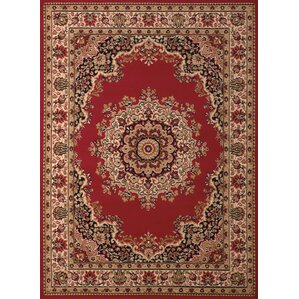 Dallas Floral Kirman Red Area Rug