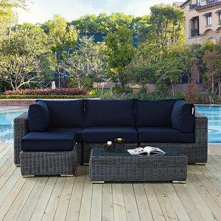 Keiran 5 Piece Sunbrella Sofa Set with Cushions