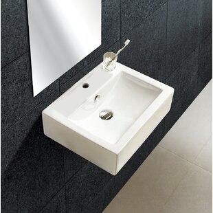 Online Reviews Ceramic 21 Wall Mount Bathroom Sink with Overflow ByRoyal Purple Bath Kitchen