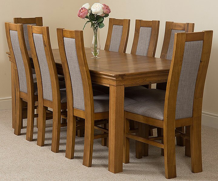 Greenwald Fixed Solid Oak Dining Set With 8 Stanford Chairs
