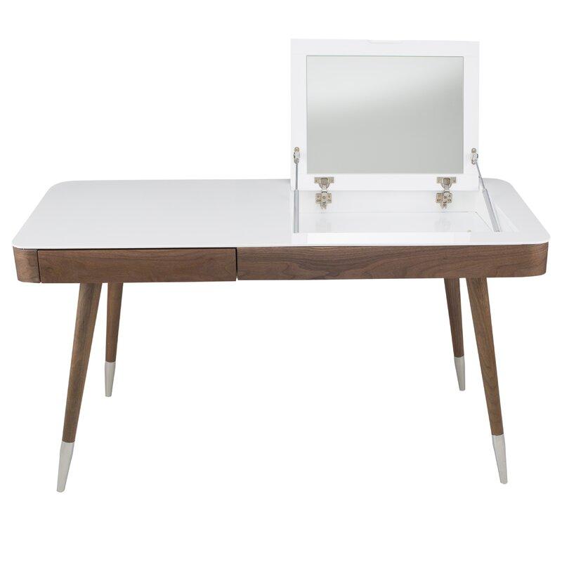 Vanity And Mirror Set Part - 30: High Gloss Desk Veneer Solid Wood Legs Vanity Set With Mirror