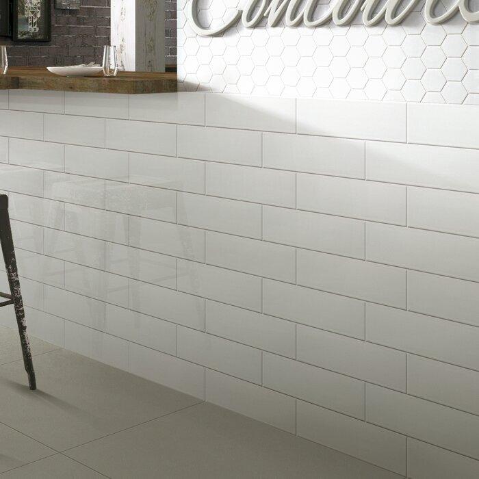 Hudson 12 X 4 Ceramic Bullnose Tile Trim In Glossy White
