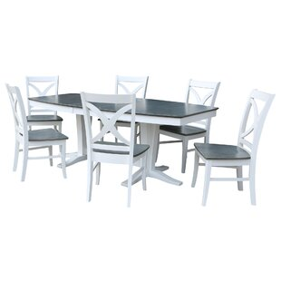 68 - 96 x 42 Double Butterfly Extension 7 Piece Dining Set with 6 Matching X-Back Dining Chairs Sedgewick Industries