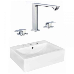 Clearance Xena Farmhouse Semi-Recessed Ceramic Rectangular Vessel Bathroom Sink with Faucet and Overflow By Royal Purple Bath Kitchen
