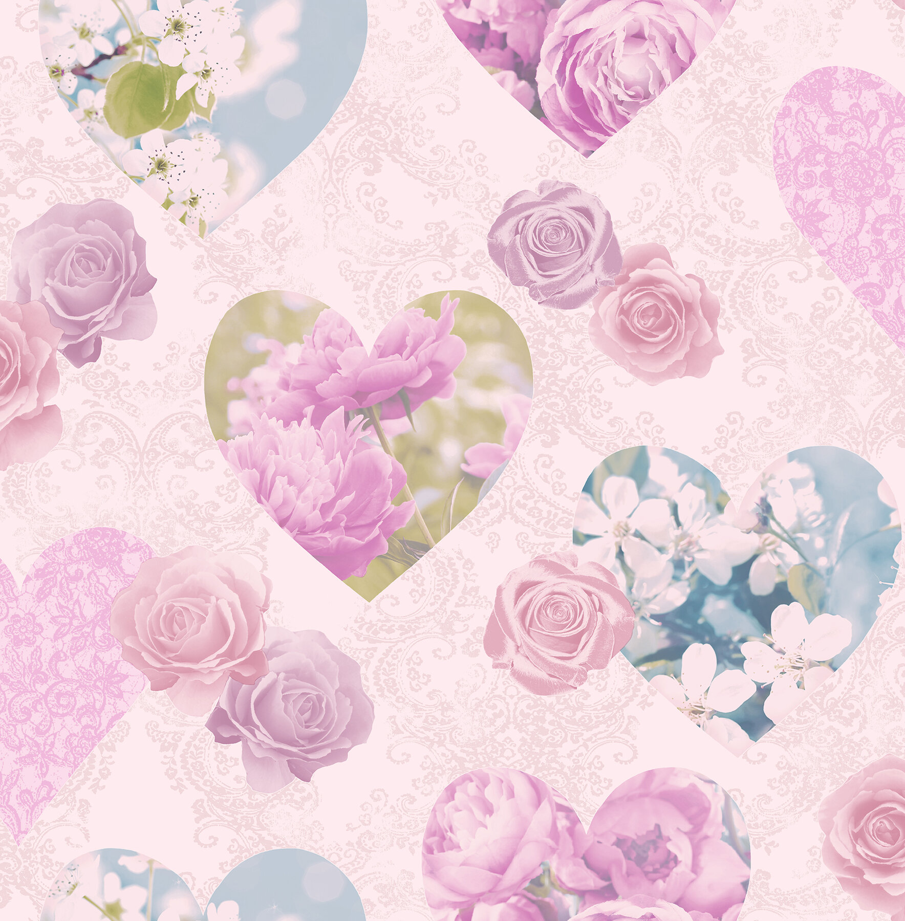 amour floral hearts 33 x 205 wallpaper roll
