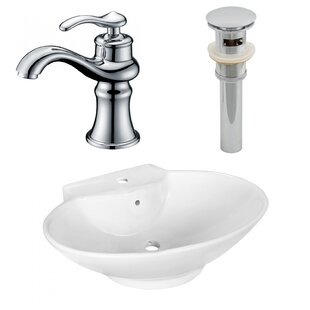 Deals Above Counter Ceramic Oval Vessel Bathroom Sink with Faucet and Overflow ByRoyal Purple Bath Kitchen