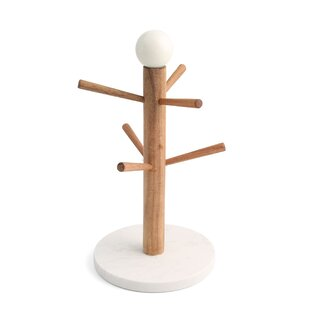 Hattaway Wood Mug Tree with Marble Base & Marble Ball Top