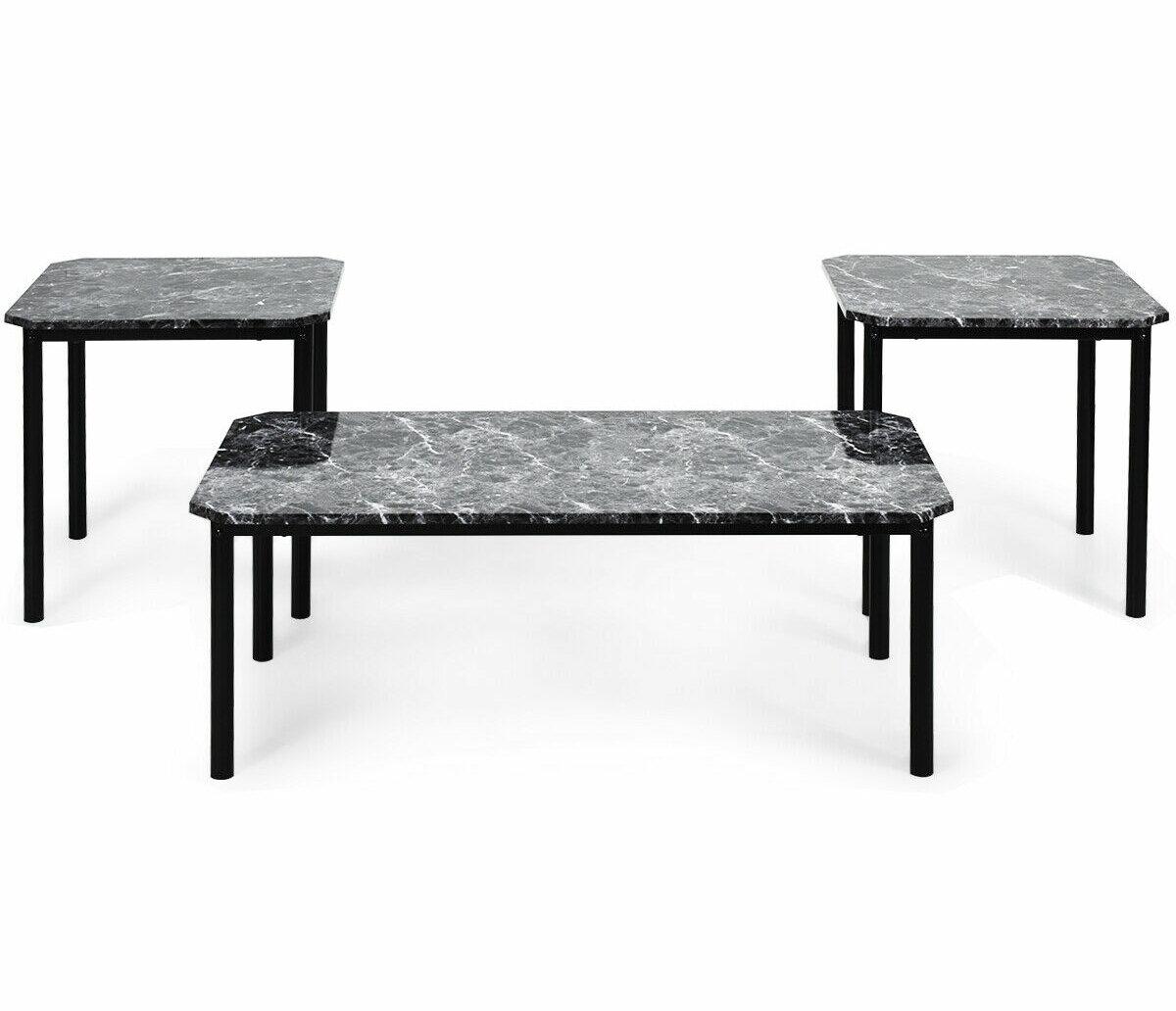 Wrought Studio Mateer Modern Faux Marble Metal Frame Living Room Decor 3 Piece Coffee Table Set Wayfair Ca