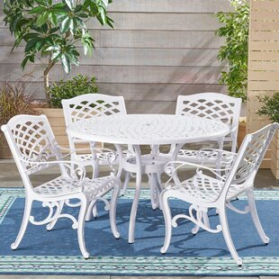 August Grove Hephaestus Outdoor Cast Aluminum 5 Piece Dining Set