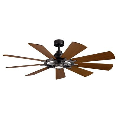 17 Stories 65 inch Alex 9 Blade LED Ceiling Fan Finish Anvil Iron