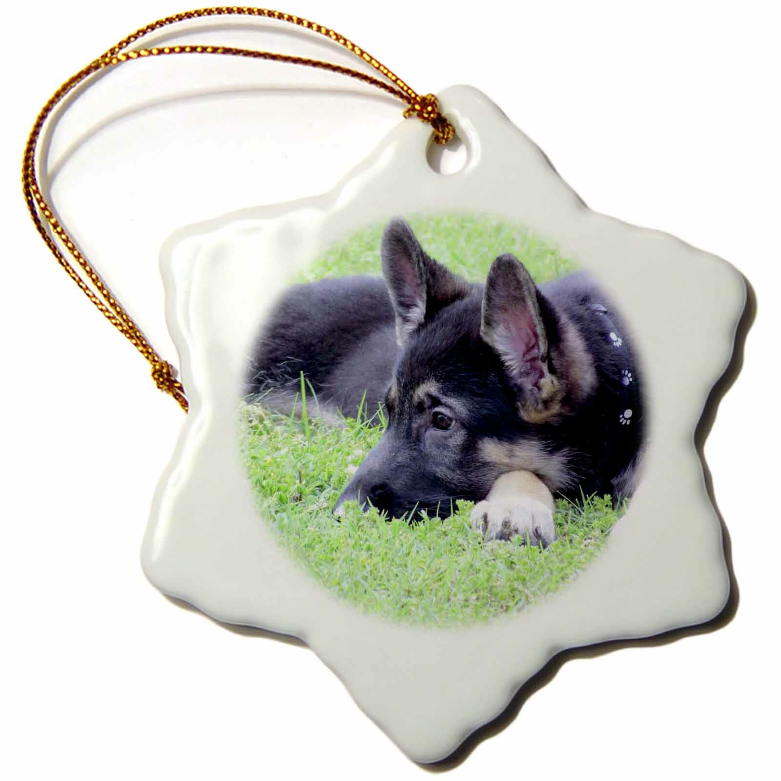 The Holiday Aisle German Shepherd Puppy Snowflake Holiday Shaped Ornament Wayfair