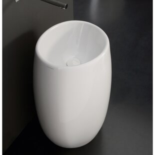 Moai Ceramic 34 Pedestal Bathroom Sink with Overflow ByScarabeo by Nameeks