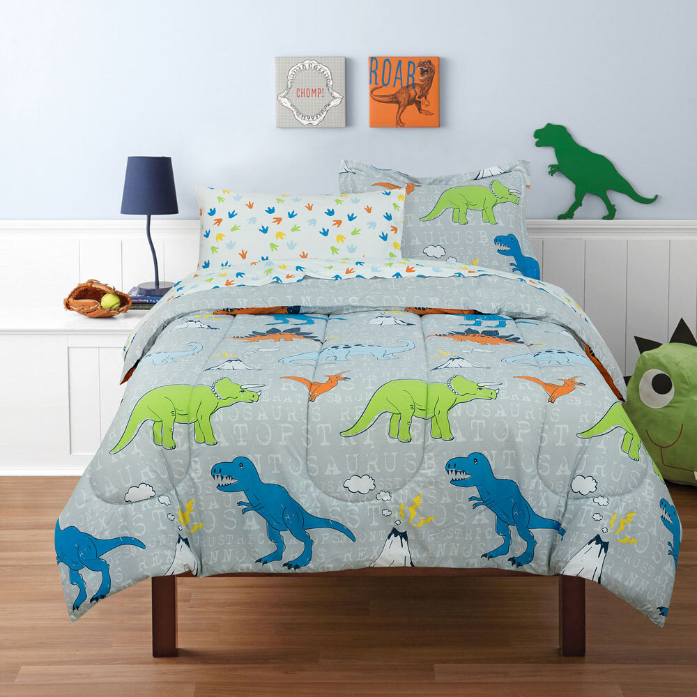 Twin Size Elegant Home White Orange Green Dinosaurs Jurassic Park Design 3 Piece Printed Sheet Set with Pillowcase Flat Fitted Sheet for Boys//Kids//Teens # Dinosaur