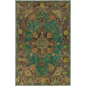 Burliegh Vintage Distressed Overdyed Teal Hand Knotted Wool Green Area Rug