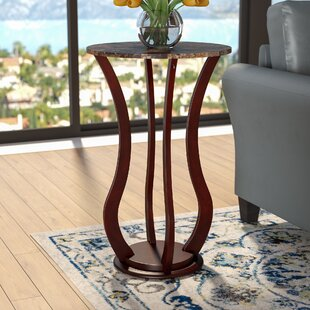 O Neil Faux Marble Top Pedestal Plant Stand In Cherry