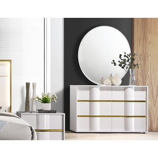 Milly 6 Drawer Double Dresser with Mirror