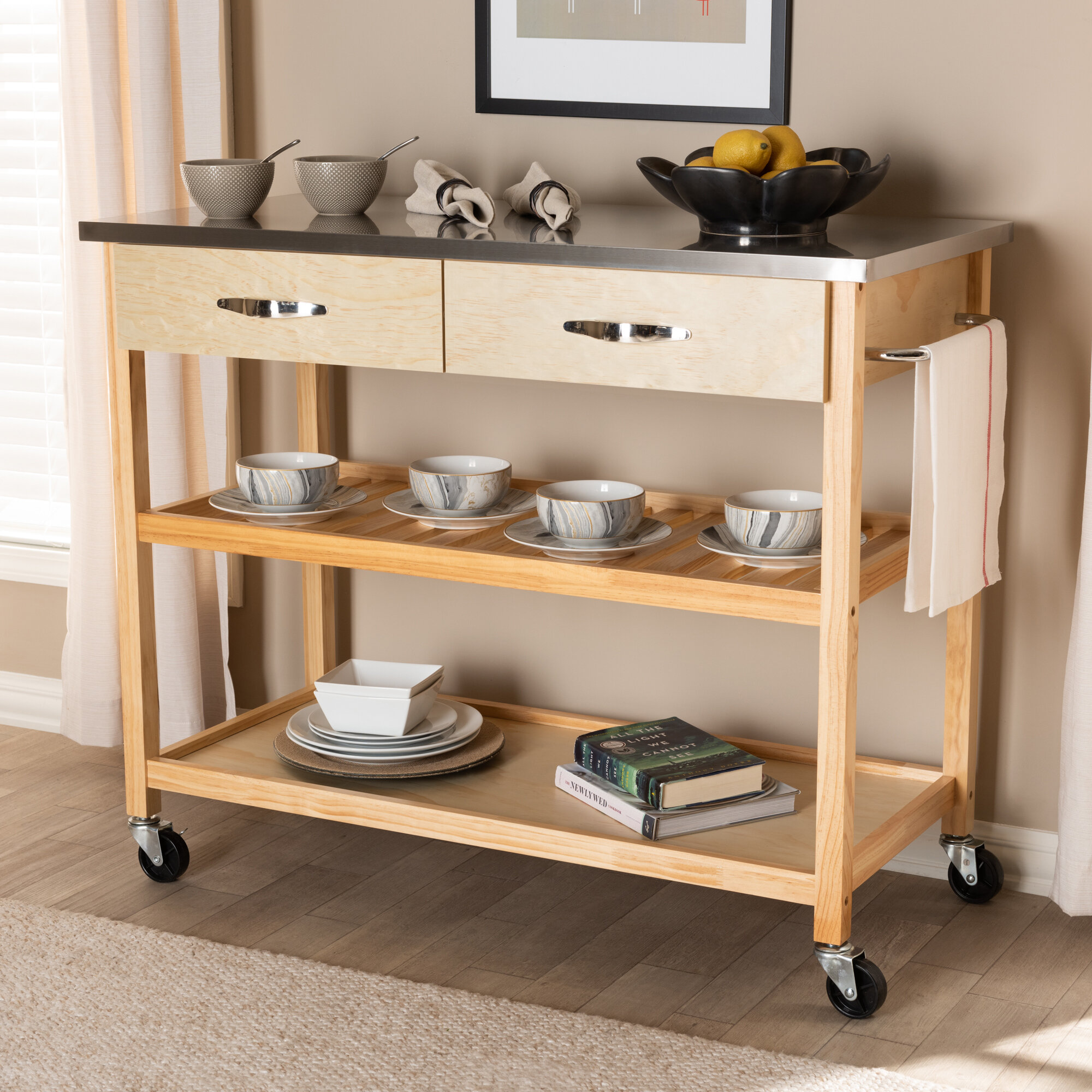 Highland Dunes Doucette 9'' Solid Wood Kitchen Cart with ...