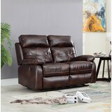 Swaney 56 Wide Faux Leather Pillow Top Arm Reclining Loveseat by Winston Porter