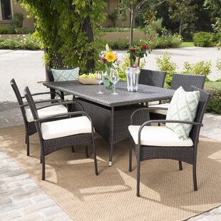 Emmeline 7 Piece Dining Set With Cushion by Highland Dunes Bargain