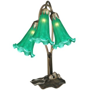 Meyda Tiffany Green Pond Lily Accent Table Lamp in Mahogany Bronze